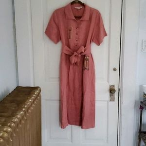 Chalet Luxury Linen Handpainted Maxi Dress